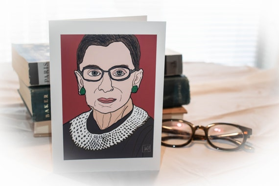 Notorious RBG, Inspirational Women, Greeting Card, Blank Card, Color Illustration, 5 x 7 Card