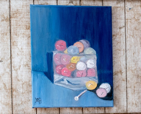Bucket of Balls, Oil Painting, Original Painting, Golf Painting, Cotton Canvas, 11 x 14 Painting