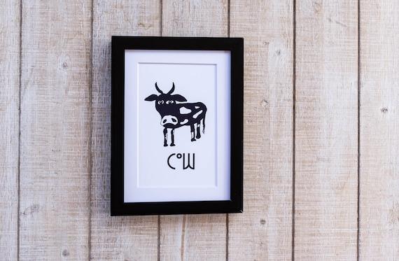 Black and White Cow, Animal Illustration, Wall Decor, White Mat, Black Frame, 5 x 7 Print