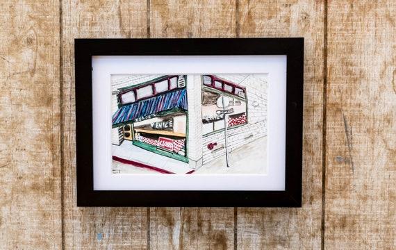 Watercolor Print, Zelda's Cafe, Wall Art, Black Frame, White Mat, 5 x 7 print