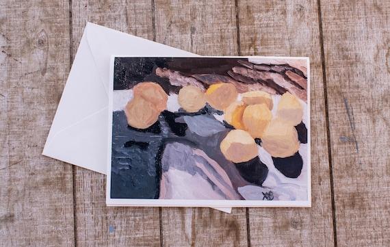 Yellow Lemons, Oil Painting Print, Greeting Card, 5 x 7 Card