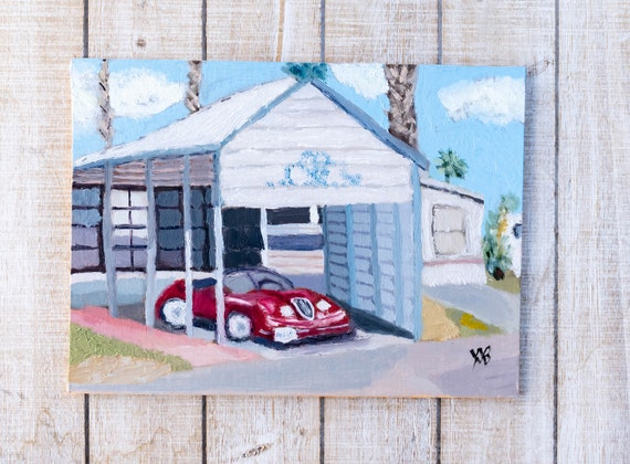 The Red Car, Original Oil Painting, Wall Decor, Linen Panel Board, 9 x 12