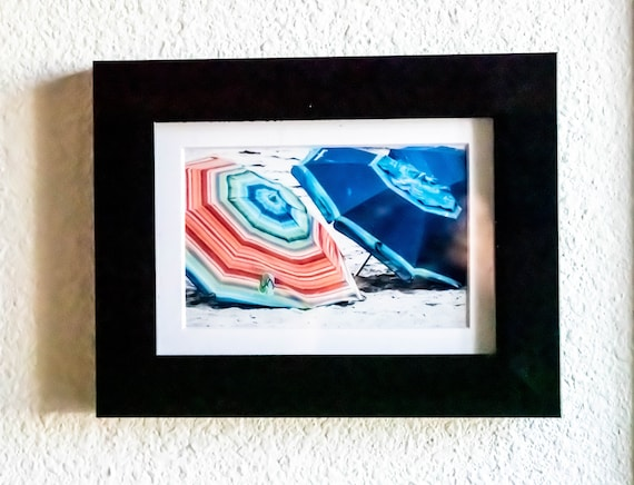 Beach Umbrellas Photograph, Artistic Photograph, Wall Decor/ Black Frame, White Mat, 5 x 7 Photo
