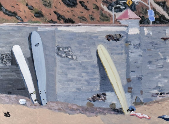 Malibu Beach, Surfboards on the Wall, Oil Painting, Original Painting, 18 x 24 Painting