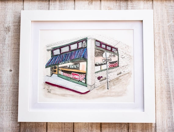 Zelda's Cafe, Watercolor Painting, Urban Sketch, Wall Decor, White Mat, White Frame, 9 x 12 Painting