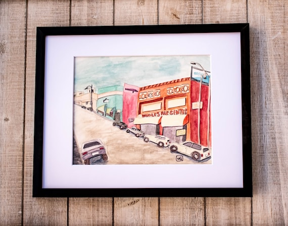 Downtown Los Angeles, Original Watercolor Painting, Wall Decor, White Mat, Black Frame, 11 x 14