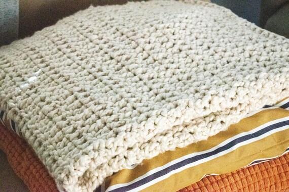 Chunky Crochet Blanket, Almond Blanket, Home Decor, Crochet Throw, 36 x 44 Blanket