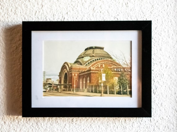 Union Station, Train Station, Color Photo, Tacoma Photo, White Mat, Black Frame, 5 x 7 Photo