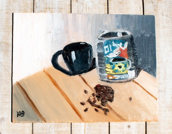 Shalom Coffee, Oil Painting, Original Painting, Wall Decor, 9 x 12 Painting, Linen Board