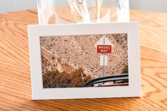 Wrong Way Road Sign, Wall Decor,  Color Photograph, White Mat, 5 x 7 Photo
