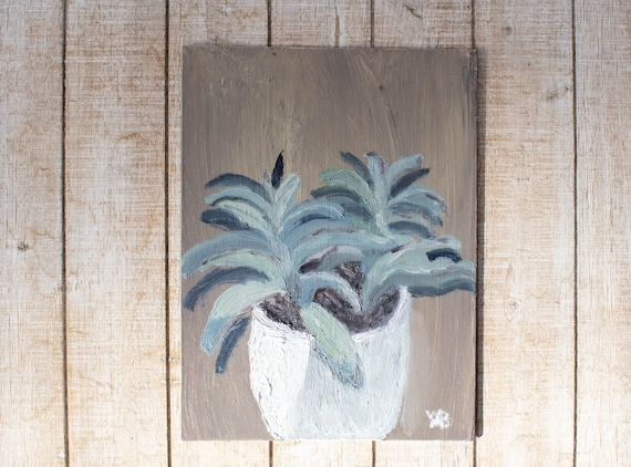 Potted Plant, Original Oil Painting, Wall Decor, Linen Panel Board, 9 x 12 Painting