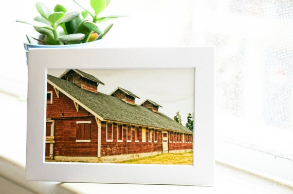 Red Barn Color Photograph, Color Photograph, Wall Decor, 5 x 7 Photo, White Mat