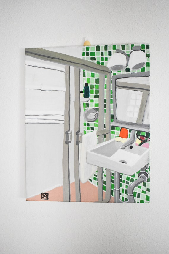 Green Bathroom,  Original  Acrylic Painting, Wall Decor, Stretched Canvas, 16 x 20 Painting