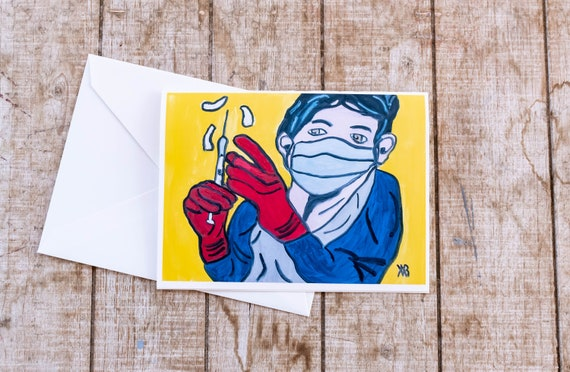 Covid Vaccine, Greeting Card, Superhero Card, Blank Card, 5 x 7 Card