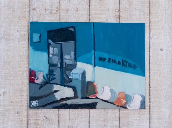 Greyhound Bus Station, Oil Painting, Original Painting, Wall Decor, Linen Panel Board, 9 x 12