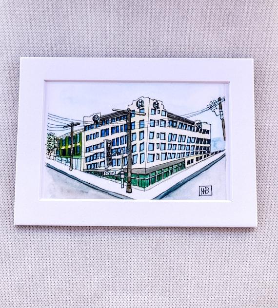 Ford Hotel Watercolor Print, Urban Sketch, Wall art,  White Mat 5 x 7, 11 x 14 Print