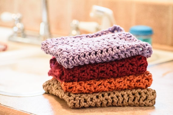 Cotton Dishcloth Set,  Environmentally Friendly Dishcloths, Crochet Dishcloths,  Set of 4