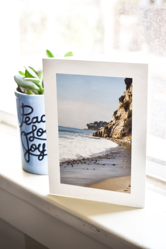 Waves Upon the Shore, Color Photo, Photo Greeting Card, Blank Greeting Card, Malibu Greeting Card, 5 x 7 Card