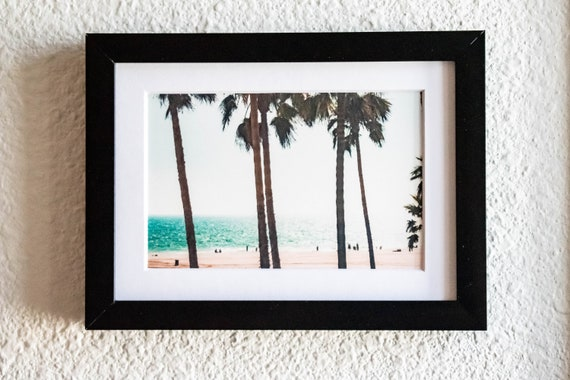 Palm Trees on the Beach, Color Photo, Wall Decor, White Mat, Black Frame, 5 x 7 Photo, 11 x 14 Photo