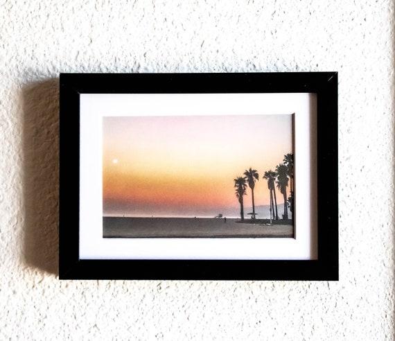 Tropical Sunset, Color Photograph, Beach Photo, Wall Decor, White Mat, Black Frame, 5 x 7 Photo