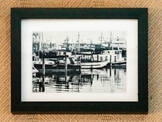 Seattle's Fisherman's Pier, Wall Decor, Black and White Photo, White Mat, Black Frame , 5 x 7 Photo