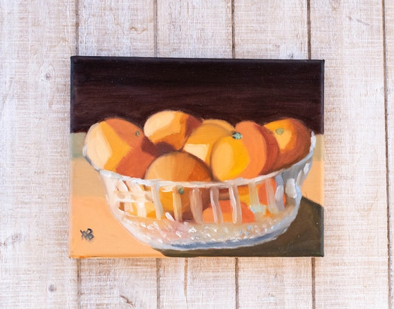 Bowl of Cuties, Oil Painting, Original Painting, Wall Decor, Canvas Painting, 8 x 10