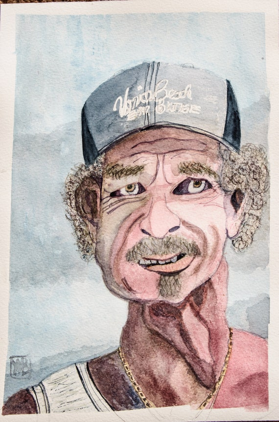 Man From Venice Beach, Original Watercolor Painting, Portrait Painting, Wall Decor
