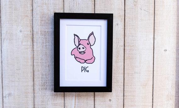 Pink Pig, Color Illustration, Wall Decor, white mat, Black Frame,  5 x 7 Print