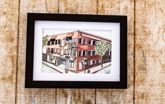 Watercolor Print, Hotel La Jolla, Wall Art, 5 x 7 Print, White Mat, Black Frame