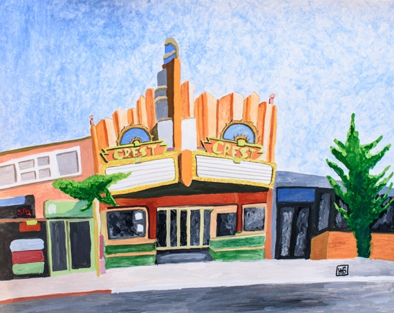 The Crest Theater, Gauche Painting, wall Decor, 19 x 24 Painting