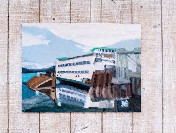 Washington State Ferry, Original Oil Painting, Wall Decor, Linen Panel Board, 9 x 12