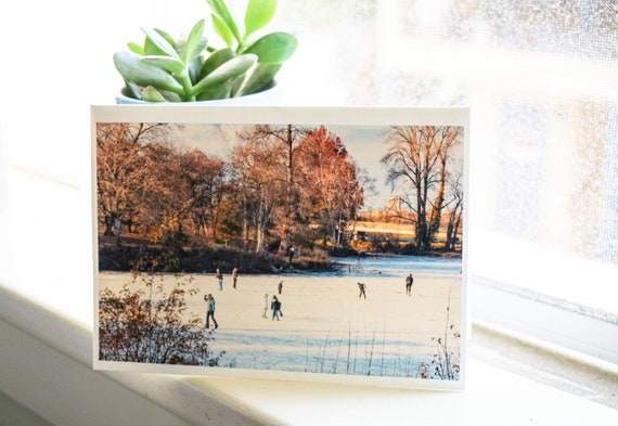 Ice Skaters Photo Greeting Card, Color Photo Greeting Card, Blank Card, 5 x 7 Card