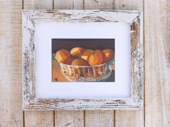Bowl of Cuties, Oil Painting Print, Wall Decor, White Mat, Black Frame, Rustic Frame, 5 x 7 Print, 8 x 10 Print