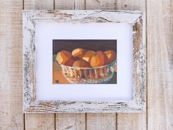 Oil Painting Print, Bowl of Cuties, Wall Decor, White Mat, Black Frame, Rustic Frame, 5 x 7 Print, 8 x 10 Print