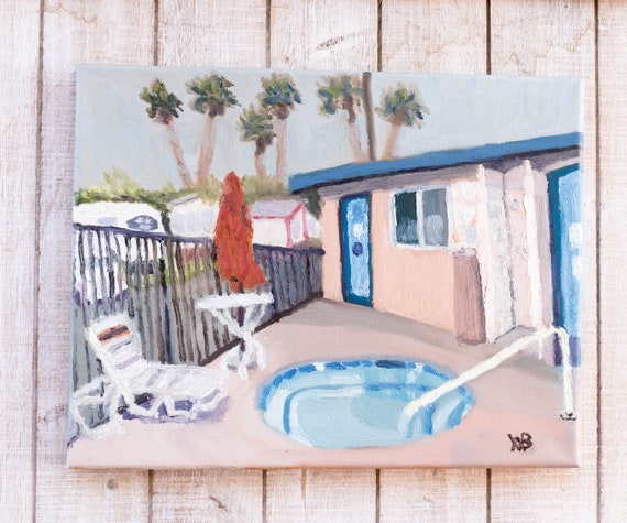 The Pool House, Oil Painting, Original Painting, Realism Painting, Canvas Painting, 11 x 14 Painting, Wall Decor
