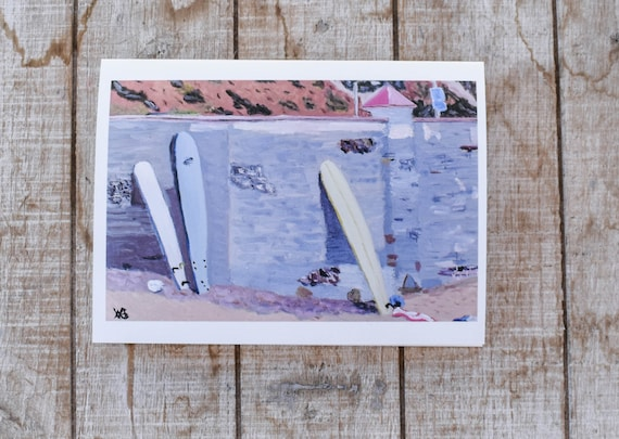 Resting Surfboards, Oil Painting Print, Greeting Card, 5 x 7 Card