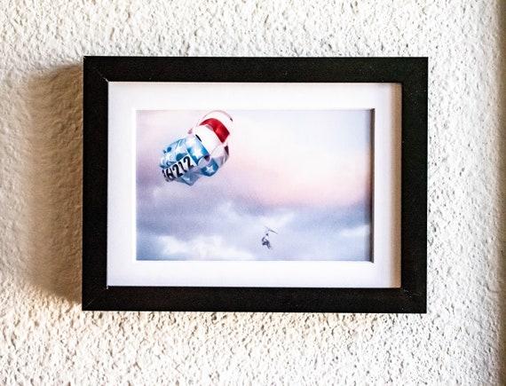Parasailing Color Photograph, Wall Decor, White Mat, Black Frame 5 x 7 Photo, 11 x 14 photo