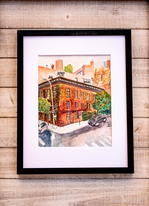 The West Village, Original Watercolor Painting, Wall Decor, White Mat, Black Frame, 11 x 14 Painting