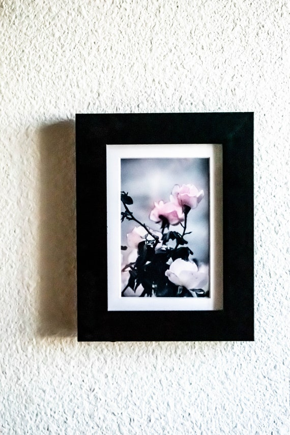 Pink Flowers Photograph,Wall Decor, Artistic Photo, Floral Photography, Black Frame, White Mat, 5 x 7 Photo
