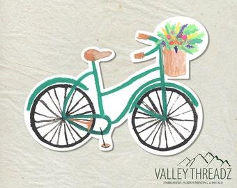 Bike Decal - Bike Vinyl Sticker - Watercolor Bike Decal - Car Window Decal - Laptop Sticker - Tumbler Decal