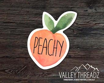 Peachy Decal - Peach Vinyl Sticker - Watercolor Peach Decal - Car Window Decal - Stickers - Car Decal - Laptop Sticker - Tumbler Decal
