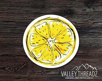 Lemon Decal - Lemon Vinyl Sticker - Drawn Lemon Decal - Car Window Decal - Laptop Sticker - Tumbler Decal