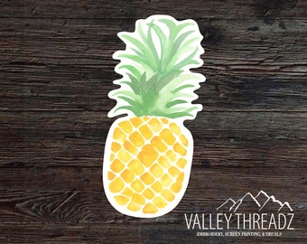 Pineapple Decal - Pineapple Vinyl Sticker - Watercolor Pineapple Decal - Hipster Sticker - Car Window Decal - Laptop Sticker - Tumbler Decal