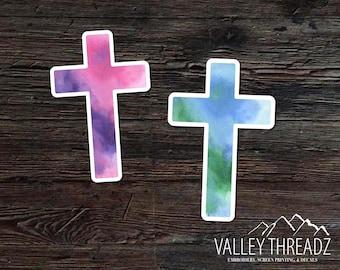 Cross Decal - Cross Vinyl Sticker - Watercolor Cross Decal - Car Window Decal - Laptop Sticker - Tumbler Decal - Christian Decal