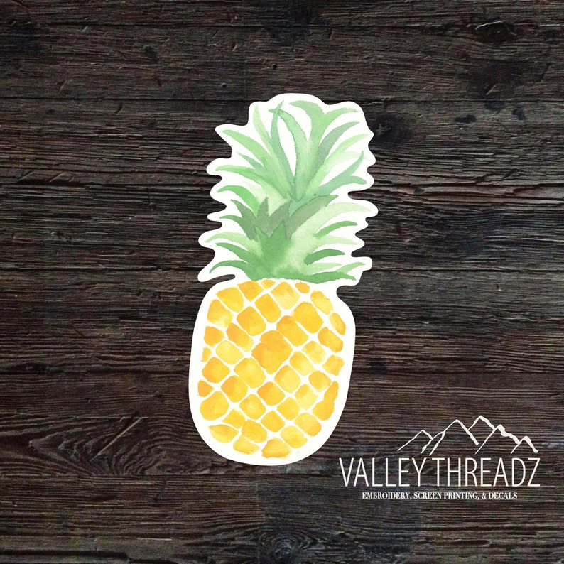 Pineapple Decal  Pineapple Vinyl Sticker  Watercolor image 0