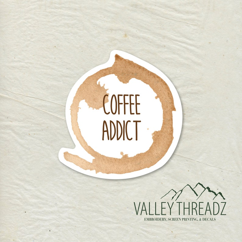Coffee Decal  Coffee Vinyl Sticker  Coffee Stain Decal  image 0
