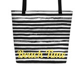 Spacious beach bag with stripes and lettering ' Beach Time '/Beach Bag Stripes/Beach Time/Summer Tote Bag/Weekender Tasche/Holiday