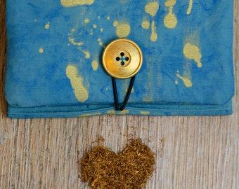 "Tobacco bag unique ""marble splash"" gold/greenish Blue"