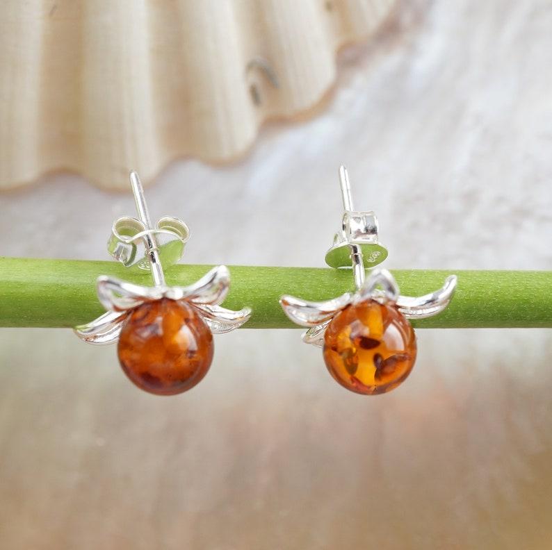 Baltic Amber Earrings Amber Flower Studs Amber Earrings Amber Studs Small Amber Studs Amber Gift Amber Jewellery Flower Studs