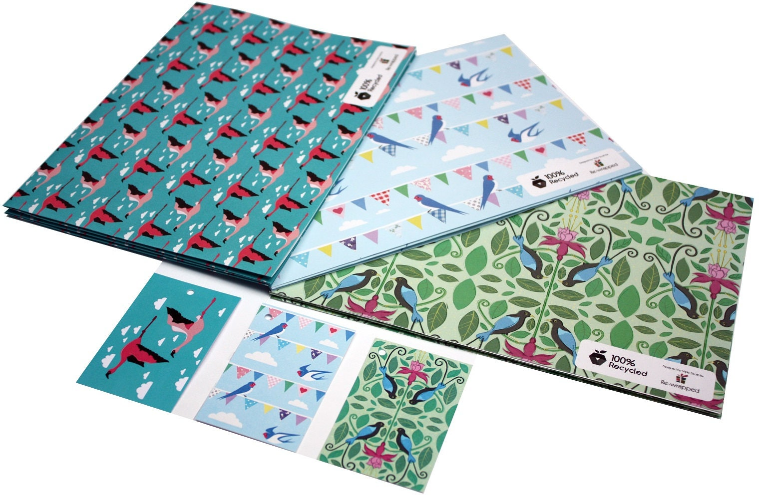 vicky scott bird bundle gift wrap wrapping paper on recycled etsy. Black Bedroom Furniture Sets. Home Design Ideas